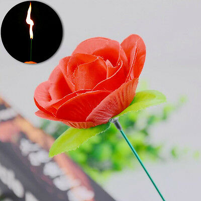New Close Up Fire to Torch Rose Magic Trick Stage Flame Appearing Flower Tricks