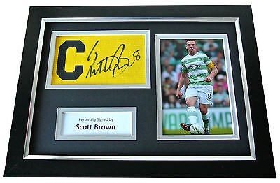 Scott Brown Signed FRAMED Captains Armband A4 Photo Display Glasgow Celtic COA