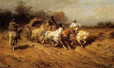 Oil painting Adolf Schreyer - a wallachian caravan on the open road landscape