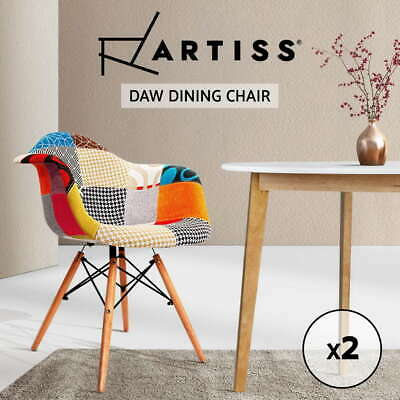 Artiss 2x Retro Replica Eames DAW Dining Chairs Kitchen Cafe Chair Fabric Padded