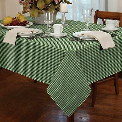 "Gingham Check Green White Square 54X54"" 137X137Cm Table Cloth"