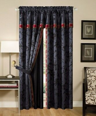 Chezmoi Collection 4-Piece Palace Jacquard Floral Curtain Set, Black/Gold/Red