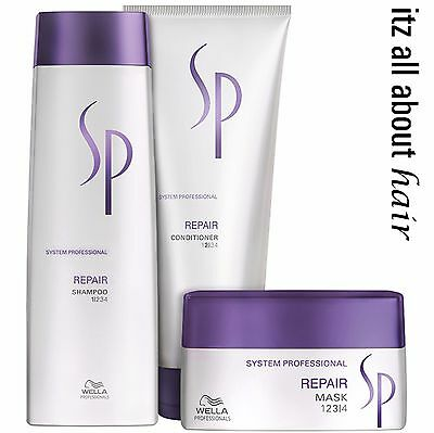 Wella SP System Professional Repair Shampoo, Conditioner and Mask Triple Pack