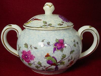 CROWN STAFFORDSHIRE china BIRD OF PARADISE pattern SUGAR BOWL with LID