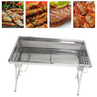 Folding BBQ Charcoal Barbecue Grill Stainless Steel Meat Garden Patio Outdoor UK