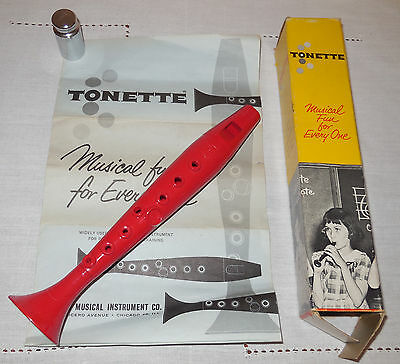 Vintage Swanson Red Bakelite Tonette Musical Instrument Original Box Sheet Music