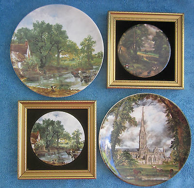 4 CONSTABLE English scenes 2 POOLE POTTERY PLATES, 2 FRAMED ceramic 8.5cm plaque