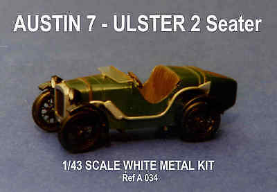 Austin 7 Ulster 2 seat sports car kit - white metal model to assemble and paint