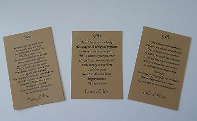 Wedding Gift Poem Cards for money/cheques Choice of 3 Poems Brown Kraft Card