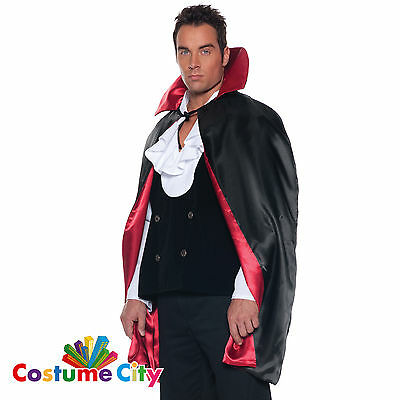 "Adult 44"" Black Red Satin Reversible Halloween Fancy Dress Dracula Vampire Cape"