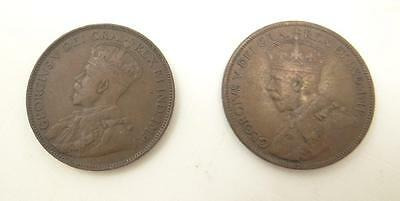 Lot 2 Two 1918 Canada Large One 1 Cent King George V 5th Georgivs