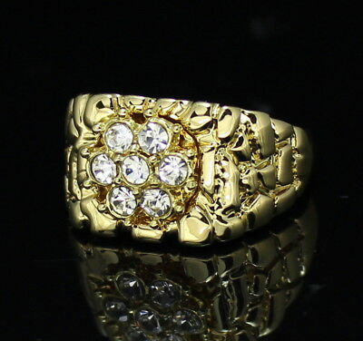 Mens Nugget Ring 14k Gold Plated Iced Out Cluster CZ Bling Hip Hop Band