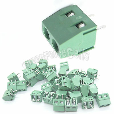 20 pcs 127-2P 2 Pin 5.0mm Pitch PCB Screw Terminal Block Connector 2 Positions