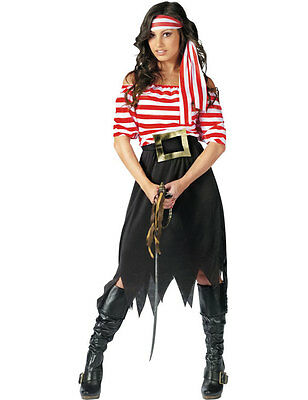 Adult Ladies Stripey Pirate Fancy Dress Female Costume Outfit