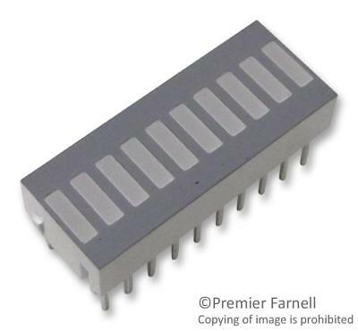 LED Bar Graph Array, Yellow, 20 mA, 2.2 V, 1.9 mcd, 10 LEDs, 25.4mm x 10.16mm