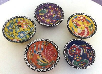 Turkish Ceramic Bowl Set(of 5) Porcelain Art 8 cm Embossed Handmade Kutahya -M2
