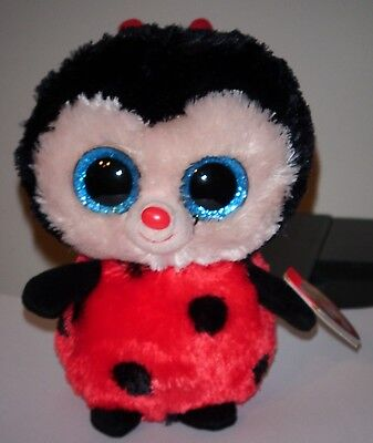 "Ty Beanie Boos ~ BUGSY 6"" Ladybug ~ NEW Version w/ GLITTER EYES & Red Heart Tag"