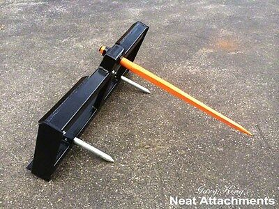"Skid Steer Bale Spear Attachment WD w/39"" Spear Quick Attach Bucket Loader 3000#"