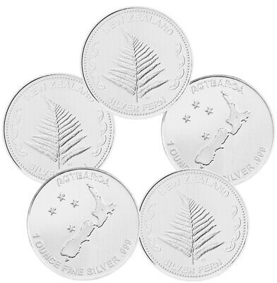 1 oz New Zealand Fern Silver Rounds - 5 oz Total (.999 New, Lot of 5)