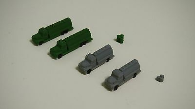 Outland Models Railway Autos Miniature 4 Fuel / Gas Truck Set Z Scale 1:220
