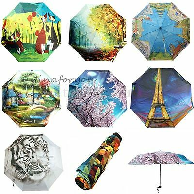 Oil Painting Umbrella Big Folding Anti-uv Sun Rain Windproof Lady women Umbrella