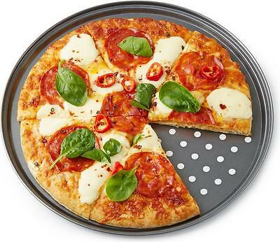 """Andrew James 32cm / 12"""" Pizza Baking Oven Tray Large Round Non-stick Chip Pan"""