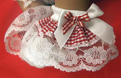 DREAM BABY RED GINGHAM  ROMANY FRILLY SOCKS ALL SIZES available reborn dolls