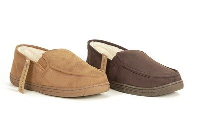 Mens Size 7 -12 Brown Full Moccasin SLIPPERS Response Elastic Gusset Lightweight
