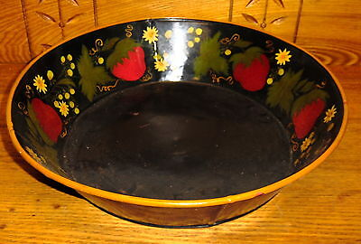 Vintage Toleware Pan - Strawberries - 14 1/2""