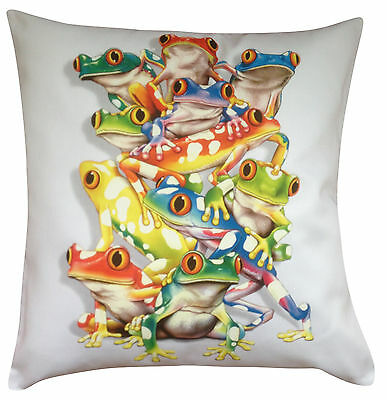 Frog Pyramid Climbing Themed Cotton Cushion Cover - Perfect Gift