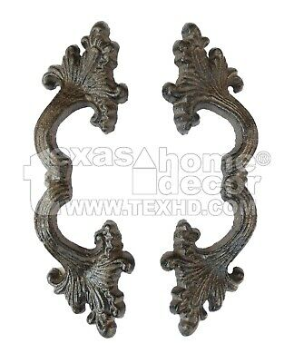 2 Fancy Cast Iron Rustic Drawer Pull Handles Ornate Curvy Design Gate Door Shed