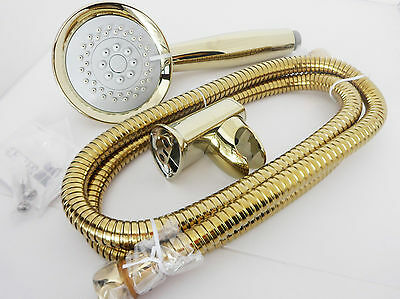 Gold 3Function Shower Head  and 1.5 Metre Stainless Steel  Hose With Bracket