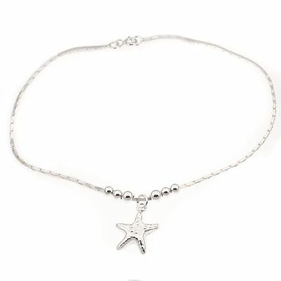 Sterling silver dangly starfish design ankle chain / anklet -  Length 24cm