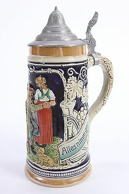 """Marzi & Remy West German Pottery Lidded Stein 1 Pint 9"""" Tall Mold 2457"""