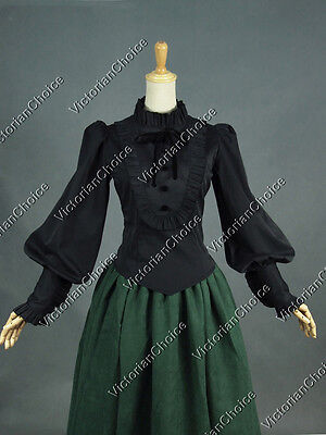 Victorian Black Gothic Women Shirt Blouse Steampunk Punk Theater Costume B187