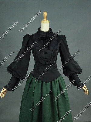 Victorian Dark Witch Gothic Black Blouse Shirt Steampunk Halloween Costume B187
