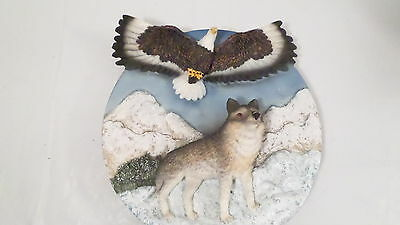 Suanti Wolf & Eagle Resin Plate Plaque