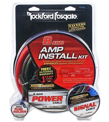 Rockford Fosgate RFK8I 8 Gauge Complete Car Amplifier Installation Amp Wire Kit