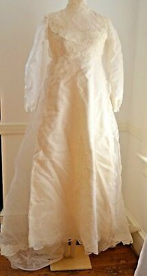 Lovely Vintage Organza And Lace Ecru Wedding Dress With Train 70 S