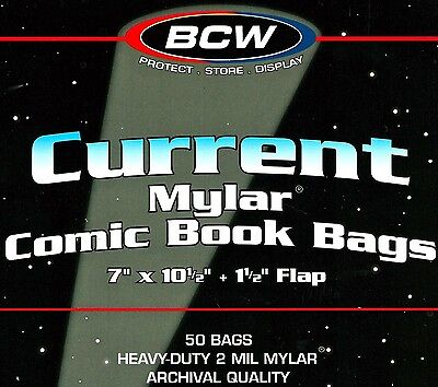 50 Current 2 Mil Mylar Bags  BCW Modern Comic Book Timeless Protection