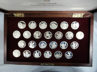 #mm.  Boxed  Set  Of 1988  Cook Island $50 Silver Proof Coins, Great Explorers
