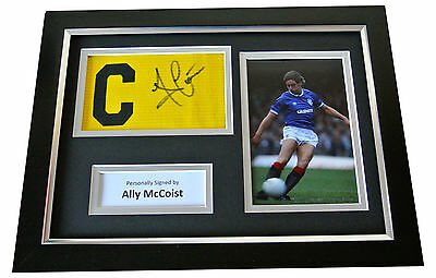 Ally McCoist Signed FRAMED Captains Armband A4 Display Rangers PROOF & COA