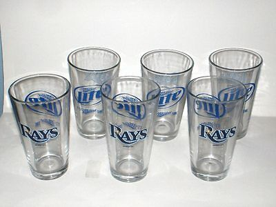 Tampa Bay Rays 2013 Mlb Miller Lite Libbey 16 Oz Pint Mixing Glasses Lot 6 New