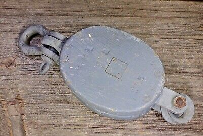 "Wood Pulley block tackle shackle rustic old vintage 3 1/2"" battleship gray paint"
