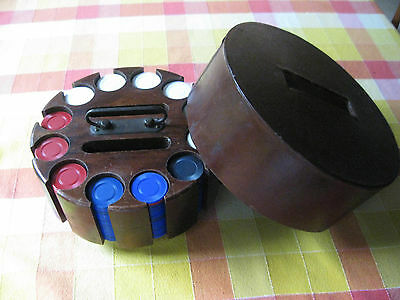 Vintage Mid Century Wood Poker Chip Card Revolving Caddy 289 Chips W/ Cover