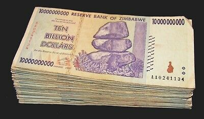 100 x Zimbabwe 10 billion Dollar banknotes-full currency bundle