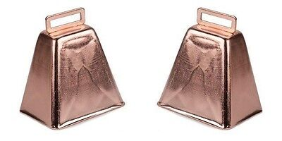 """TWO (2) each Large Metal COW BELL Copper Finish 3"""" high Pep Rally Band Dinner"""