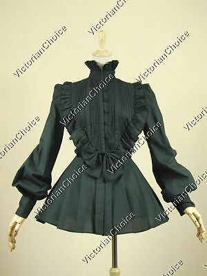 Victorian Gothic Women Lolita Black Top Blouse Shirt Steampunk Costume B005