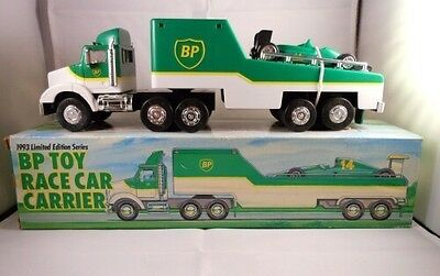 1993 BP TOY RACE CAR CARRIER Truck Model Limited Edition NIB Semi w/ Race Car