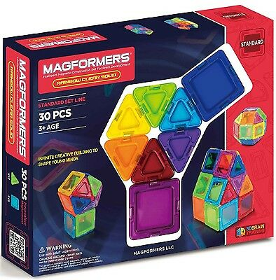 Magformers 30 Pcs Rainbow Clear Solid Magnetic Construction Set 65031 NEW